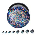 Ear Plug - Single Flare - Glitter - Colorful - 8 mm