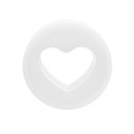 Silicone Ear Plug - Heart - White - 8 mm