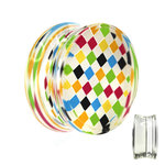 Silhouette Ear Plug - Chessboard - Check - Rainbow