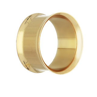 Gold Double Flare Steel Flesh Tunnel