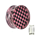 Silhouette Ear Plug - Chessboard - Check - Pink