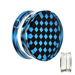 Silhouette Ear Plug - Chessboard - Check - Blue