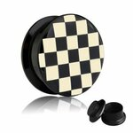 Picture Ear Plug - Screw - Chessboard - Check - 10 mm