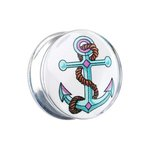 Silhouette Ear Plug - Anchor -Blue - 12 mm