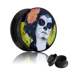 Picture Ear Plug - Screw - La Catrina - Green - 5 mm