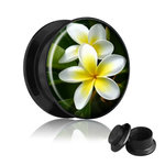 Picture Ear Plug - Screw - Exotic Flower - 6 mm