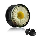 Picture Ear Plug - Screw - Daisy - 8 mm